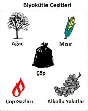 Biyokütle Enerjisi : Tükenmeyen bir kaynak olması, her yerde elde edilebilmesi gibi özellikleri ile geniş bir kullanım alanı bulunmaktadır. Özel olarak yetiştirilen buğday, mısır gibi bitkiler veya doğada bulunan otlar, yosunlar, hayvan dışkıları, evlerdeki organik çöpler (sebze-meyve) başlıca yakıt kaynaklarıdır. Biyokütlelerden enerji üretme yöntemleri ; yakma, alkol fermantasyonu, piroliz (kütlenin oksijensiz ortamda ısıtılması), ve anaerobik sindirim bunlardan başlıcalarıdır başlıcalarıdır.