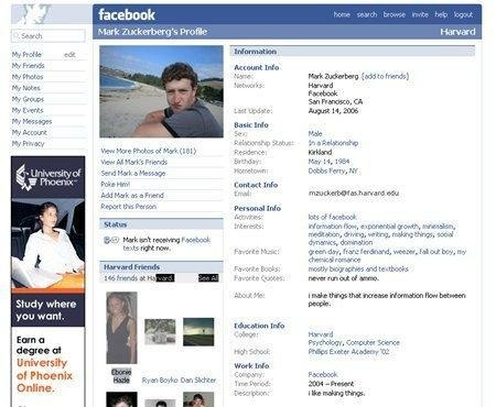Yıl 2006 Mark Zuckerberg'in profili