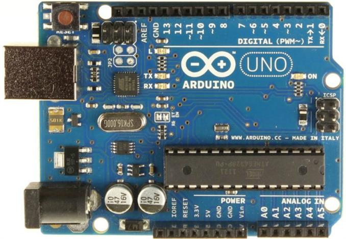 Arduino Uno:   En çok bilinen geliştirme kartlarından olan Arduino'nun en popüler modeli Arduino Uno ATmega328 tabanlı. 14 dijital giriş/çıkış ,6 analog girişi var. Dijital çıkışlardan altısı PWM destekliyor.