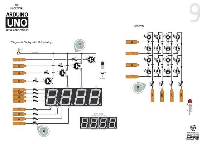 Direk 7 segment x 4 display sürme bağlantısı, LED matrix display sürme.