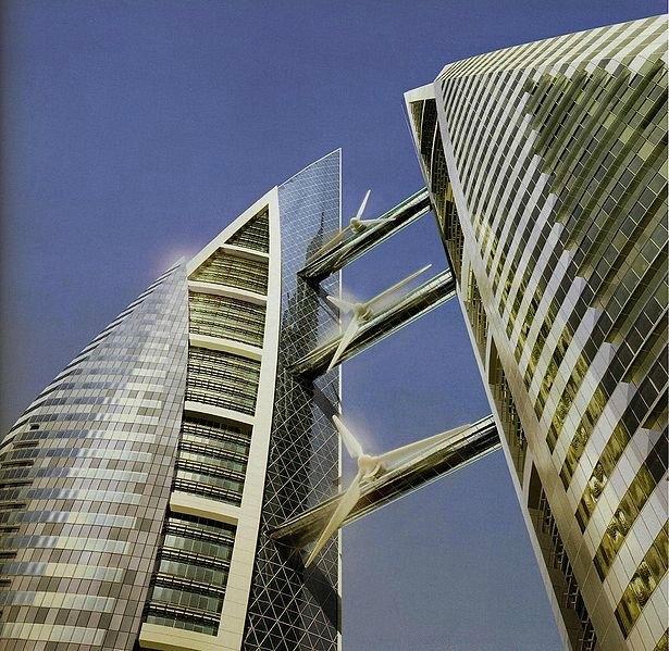 240 metre yüksekliğinde ve 50 katlı olan ikiz gökdelen kompleksi, 150 milyon dolara mal oldu. 29 metre kanat çaplı, üç adet yatay eksenli rüzgar türbini yılda 1100-1300 MW saatlik üretimleriyle, gökdelenlerin yıllık elektrik enerjisi ihtiyacının yaklaşık % 12-15'ini karşılıyor. Türbinlerden elde edilen elektrik enerjisi yaklaşık olarak 300 evin ihtiyacı olan enerjiye eşit durumda . -İngiliz mimar Tom Wright tarafından tasarlanan DTM'de rüzgarın gücünü daha etkin kılabilmek için kuleler dışa doğru üçgen formda dizayn edilmiş. Bu tasarım şekli rüzgar gücünü %30 oranında artırmış.