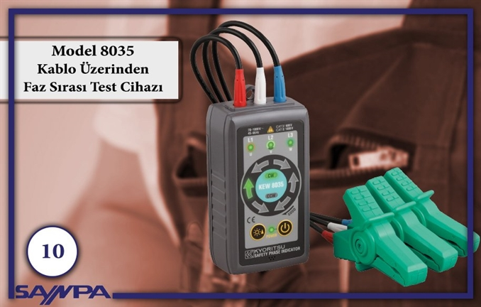 Elektrik alanında yapılan çalışmalarda güvenlik ve hatasız iş süreçleri için kullanılan cihazlar çok önemlidir. Bu amaçla elektrik mühendisi ve teknikerleri için en pratik, vazgeçilmez ve önemli cihazları sizler için derledik. 10. sırada kablo üzerinden faz sırası testi yapmaya imkan veren KYORITSU Model 8035 Faz Testi Cihazı var. ► Temasa ihtiyaç duyulmadan güvenli test imkanı sağlar. ► Faz sırası, döner ışıklı ledler ile sesli olarak gösterilir. ► 3 faz tesislerde 70 VAC ile 1000VAC aralığında çalışabilmektedir. ► Krokodil klipsler ile 2,4 mm'den 30 mm' ye kadar kablolarda kullanılabilir. Ürüne Git: http://goo.gl/i05v9p