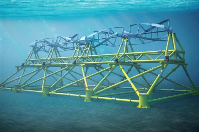 Tidgen Power System: Kuvvetli gelgit dalgaları, okyanus ya da denizin derinliklerine yerleştirilen türbinlerin bıçaklarının dönmesine neden oluyor. Türbinin bıçakları, kalıcı mıknatıs jeneratörünü harekete geçirerek elektrik üretiyor. Bu türbinlerden  her biri 180 kWp kurulu güce sahip.