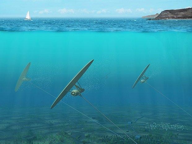 Su Altı Uçurtmaları: 100 metrelik kablo ve gergin dümen ile deniz dibine bağlanan uçurtmalar, gelgit dalgalarının uyguladığı kuvvet sonu açılan kanatlarıyla enerji üretiyor. Her su altı projesinde olduğu gibi ekolojik uyumluluk sorunu bu tasarımda da yaşanıyor.