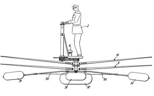 Helikopter: Sizlere daha öncede helikopter tanıtmıştık, şimdi ise biraz daha farklı bir model tasarlayan mucit Lewis 'in icadını inceleyelim. Mucidimiz, 1958 yılında patentini aldığı helikopterde pilotun ayakta durmasını tercih ederek bizi şaşırtıyor. Nedeninin ise 'pilotun, eliyle helikoptere yön verebilmesi' olduğu söylenmektedir. Helikopterin akıbeti ise bilinmemektedir.
