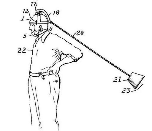 Boyun Çalıştırma Aleti: Mucit John, 1936 yılında boyun egzersizi yapmak için şekildeki gibi bir icat geliştirdi. Kullanımı ise çok basit, kaska iple bağlı olan yükü, boynunuzu hareket ettirerek çeviriyorsunuz. Aman dikkat, yükü fazla döndürüp boynunuzu kırmayın!