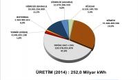 2014 yılında Türkiye'de elektrik üretimi son 3 yılın en yüksek oranı olarak saptanmıştır.