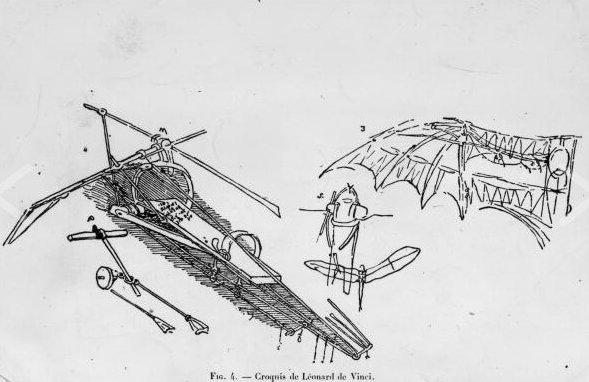 Ornihopter: Kuşlara hayran olan Da Vinci, onların nasıl uçtuğuyla ilgili gözlemler yapmıştır. İnsanların da kuşlar gibi kanat çırparak uçabilmesi için ornihopter tasarımı yapmıştır. Bu tasarım, her ne kadar insan kaslarıyla harekete geçirilemeyecek olsa da Da Vinci'nin ileri aerodinamik bilgisinin ürünü olmuştur.
