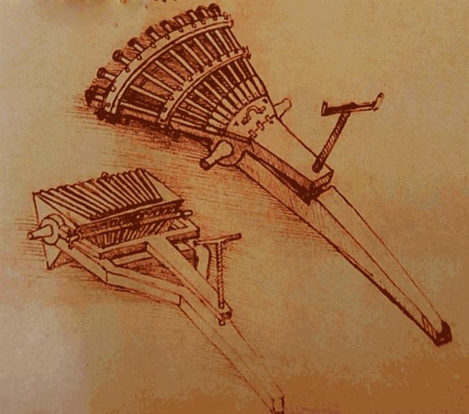 Makineli Tüfek: 11 tüfek ve 33 namludan oluşan Da Vinci'nin makineli tüfeği, seri şekilde mermi atamamasına rağmen tek seferde çok mermi atabilmekteydi. Silahları sevmeyen Da Vinci, bu tasarımı para kazanabilmek için yapmıştır.