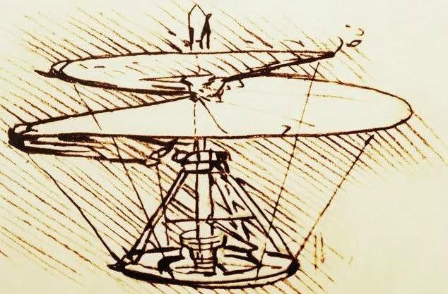 Helikopter: Sarmal yapısıyla dev bir vidayı andıran helikopter tasarımı Da Vinci'nin en şık tasarımlarından biriydi. Alt tarafta daire şeklinde koşup elle çevrilerek, ketenden yapılan pervane dönmeye başlıyor ve helikopter harekete geçiyor. Anca Da Vinci'nin bu tasarımının gerçekten uçup uçmadığı bilinmiyor.