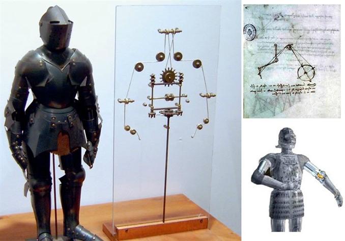 Robot Şövalye: İlk insansı robot tasarımı da Da Vinci tarafından yapılmıştır. Da Vinci'nin insan anatomisini kullanarak tasarladığı bu robot, makaralar ve çarklarla hareket etmekteydi. Hayata geçirmeyi bu robotun, kutlamalarda eğlence amaçlı kullanıldığı düşünülüyor.