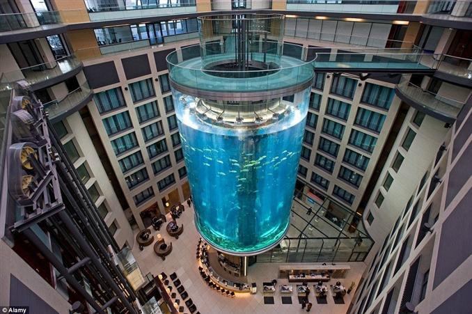 AquaDom, Berlin: Asansörle katlar arasında gidip gelirken sizde sıkılmaz mısınız ? AquaDom, 25 metre uzunluğunda olup katlar arası asansör ile geçerken silindirik şeffaf akvaryumun keyfini çıkarabiliyorsunuz. Akvaryumun içerisinde 1.000.000 litre su ve 50 farklı türde olan 1500 adet balık bulunmakta. AquaDom Berlin'de ki Radisson Blu otelinin içerisinde bulunmakta ve dünya üzerinde görebileceğiniz en özel asansör deneyimlerinden biri.
