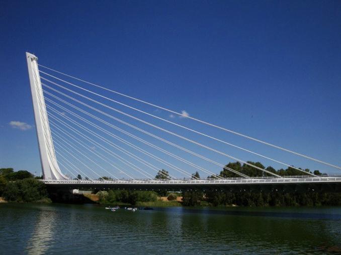 The Alamillo Bridge & Cartuja Viaduct: Bu köprü, Meandro San Jerónimo nehri üzerinde 200 m'lik bir açıklığa sahip 13 çift kablo ile desteklenmiştir. Köprü, La Cartuja Adası'nı geçen otomobiller, bisikletliler ve yayalar için bir viyadük ile bağlantılı.