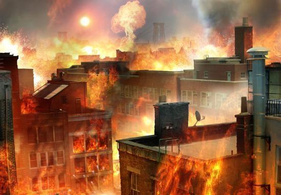 <h2>5 YIL SONRA</h2> \nBinaların yıkılmaya başlaması ile borulardaki gaz açığa çıkacak. küçük bir cam parçasından başlayan kılılcımla yangınlar çıkacak.\n