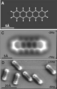 IBM'deki araştırmacılar, atom ve moleküllerin olabilecek en yüksek çözünürlükte incelenmesine imkan verecek gelişme adına bir ucunda tek bir karbon monoksit molekülü bulunan atomik güçlü mikroskop kullandı.