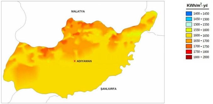 Adıyaman Güneş Enerji Potansiyel Haritası
