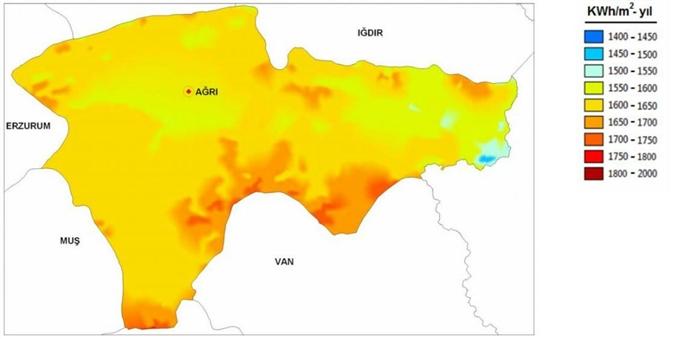 Ağrı Güneş Enerji Potansiyel Haritası