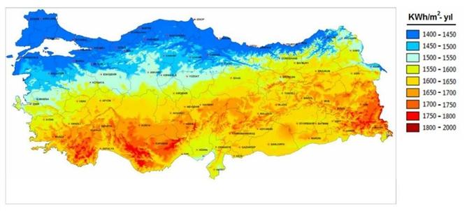 Türkiye Güneş Enerji Potansiyel Haritası